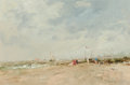 Fine Art - Painting, European:Contemporary   (1950 to present)  , CHARLES HORWOOD (British, 1907-1975). At the Shore. Oil onartist's board. 11 x 16 inches (27.9 x 40.6 cm). Signed lower...