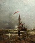 Fine Art - Painting, American:Antique  (Pre 1900), ARTHUR QUARTLEY (American, 1839-1886). Coast of Holland,1882. Oil on canvas. 27-1/4 x 22 inches (69.2 x 55.9 cm). Signe...