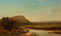 American:Hudson River School, ARTHUR PARTON (American, 1842-1914). Sunset on the Hudson,1873. Oil on canvas. 24 x 40 inches (61.0 x 101.6 cm). Signed...