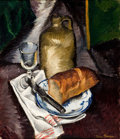 Fine Art - Painting, American:Modern  (1900 1949)  , BEN BENN (Russian/American, 1884-1983). Still Life with Bread, Pitcher, and Glass, 1918. Oil on canvas. 24 x 28 inches (...