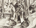Fine Art - Work on Paper:Drawing, EDWARD ARNOLD REEP (American, b. 1918). Los Angeles StreetCorner. Ink on paper. 17-1/2 x 22-1/4 inches (44.5 x 56.5cm)...