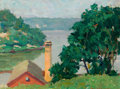 Fine Art - Painting, American:Modern  (1900 1949)  , SIDNEY H. RIESENBERG (American, 1885-1971). View of theRiver. Oil on canvas. 12 x 16 inches (30.5 x 40.6 cm). Signedlo...