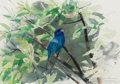 Fine Art - Painting, American:Contemporary   (1950 to present)  , LARS JOHNSON (Swedish/American, 20th Century). IndigoBunting, 1995. Watercolor on paper. 13-3/4 x 19-1/2 inches(34.9 x...
