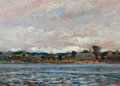 Fine Art - Painting, American:Modern  (1900 1949), NELSON COOK WHITE (American, 1900-1959). New London Harbor,1933. Oil on panel. 10 x 14 inches (25.4 x 35.6 cm). Signed ...