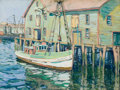 Works on Paper, ALEXANDER M. HUDNUT (American, circa 1870-1885). Boats at the Dock. Gouache on paper. 18 x 24 inches (45.7 x 61.0 cm). S...