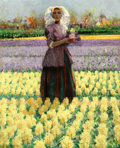 American:Impressionism, The Hon. Paul H. Buchanan, Jr. Collection. GEORGE HITCHCOCK(American, 1850-1913). Woman in a Field of Hyacinths. Oil...