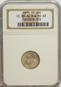 Seated Dimes, 1875-CC 10C CC Below Bow MS63 NGC. PCGS Population (7/14).Numismedia Wsl. Price for NGC/PCGS coin in M...