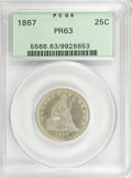 Proof Seated Quarters: , 1867 25C PR63 PCGS. PCGS Population (43/60). NGC Census: (26/72).Mintage: 625. Numismedia Wsl. Price for NGC/PCGS coin in ...