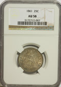 Seated Quarters: , 1861 25C AU58 NGC. NGC Census: (82/307). PCGS Population (57/318).Mintage: 4,854,600. Numismedia Wsl. Price for NGC/PCGS c...