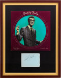 Music Memorabilia:Autographs and Signed Items, Buddy Holly Autograph and Picture Disc Framed Display....