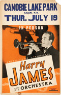 Music Memorabilia:Posters, Harry James and his Orchestra Concert Window Card (c. 1945)....