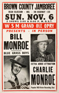 Music Memorabilia:Posters, Bill and Charlie Monroe Concert Window Card (1955)....