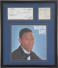 Music Memorabilia:Autographs and Signed Items, Marvin Gaye Signed Check Display.... (Total: 2 Items)