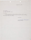 Music Memorabilia:Autographs and Signed Items, Charles Mingus Signed Letter....
