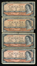 Canadian Currency: , BC-30b $2 Devil's Face 1954 Three Examples VG. BC-38a $2 ModifiedPortrait 1954 Fine.. ... (Total: 4 notes)