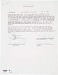 Music Memorabilia:Autographs and Signed Items, Sonny Bono and Cher Signed Document....