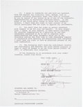 Music Memorabilia:Autographs and Signed Items, Queen Band-Signed Agreement....