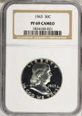 Proof Franklin Half Dollars: , 1963 50C PR69 Cameo NGC. NGC Census: (29/0). PCGS Population(13/0). Numismedia Wsl. Price for NGC/PCGS coin in PR69: $515...