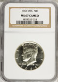 SMS Kennedy Half Dollars: , 1965 50C SMS MS67 Cameo NGC. NGC Census: (153/18). PCGS Population(132/4). Numismedia Wsl. Price for NGC/PCGS coin in MS6...