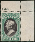 Stamps, State Dept., 1873, $20 Yellow Green & Black (O71),...