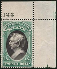 State Dept., 1873, $20 Yellow Green & Black (O71)