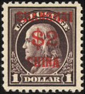 Stamps, 1919, $2 on $1 Violet Brown (K16),...