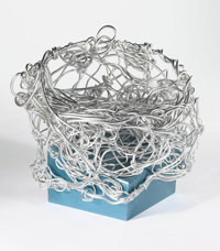 """FORREST (FROSTY) MYERS """"Pandora's Sister"""" A Powder-Coated Aluminum and Coiled Aluminum Wire Chair, 1991 Inscri..."""