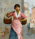 American:Portrait & Genre, The Hon. Paul H. Buchanan, Jr. Collection. GEORGE HENRY CLEMENTS(American, 1854-1935). The Water Girl, 1885. Oil on c...