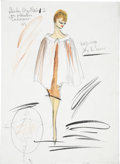 Movie/TV Memorabilia:Original Art, Shirley MacLaine Costume Sketch by Edith Head....