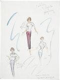 Movie/TV Memorabilia:Original Art, Natalie Wood Love With the Proper Stranger Costume DesignSketch by Edith Head....