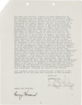 Movie/TV Memorabilia:Autographs and Signed Items, Ron Howard Signed American Graffiti Contract. ...
