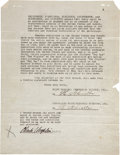 Movie/TV Memorabilia:Autographs and Signed Items, Charlie Chaplin Signed 1923 Contract. ...