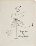 Movie/TV Memorabilia:Autographs and Signed Items, Shirley Temple Signed Sketch of Sonja Henie....