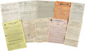 Movie/TV Memorabilia:Documents, Stan Laurel Related - Keystone Trio Documents.... (Total: 12 Items)