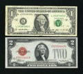 Error Notes:Ink Smears, Fr. 1505 $2 1928D Legal Tender Note. Choice CU. Fr. 1919-L $1 1993Federal Reserve Note. Fine.. ... (Total: 2 notes)