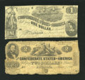 Confederate Notes:1862 Issues, T42 $2 1862.. T44 $1 1862.. ... (Total: 2 notes)