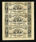 Obsoletes By State:Louisiana, New Orleans, LA - Canal & Banking Co. $5-$5-$5 Uncut Sheet of Three. ...