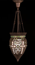 Lighting:Lamps, TIFFANY GLASS AND DECORATING COMPANY. A Bronze and Glass Byzantine Lamp, designed by J.A. Holzer, circa 1893. 32 x 10-1/2 in... (Total: 7 Items)
