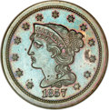 Proof Large Cents, 1857 1C Small Date PR64 Brown NGC....