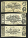 Confederate Notes:1863 Issues, A Trio of 1863 Confederate Notes:. T58 $20 1863. T59 $10 1863. T60$5 1863.. ... (Total: 3 notes)