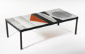 Furniture , ROGER CAPRON. A Wrought Iron and Ceramic Tile Coffee Table, circa 1960. Signed on tile: R. Capron. 12 x 40 x 20 inches (...