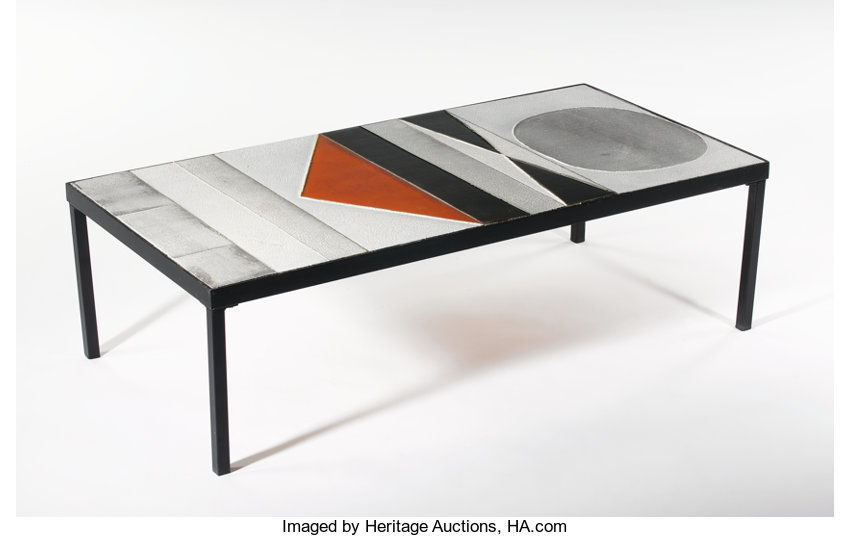 Furniture Roger Ca A Wrought Iron And Ceramic Tile Coffee Table Circa1960