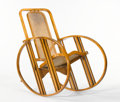 "Furniture : Continental, ANTONIO VOLPE. A Stained Beechwood and Cane ""Egg"" Rocker, model no. 267, manufactured by the Società Anonima Antonio Volpe, ..."