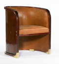 Furniture : Continental, JOSEF HOFFMANN FOR J&J KOHN. A Beech, Sycamore Laminate, andLeather Barrel Suite Armchair, model 720/F, circa 1905. 31-1/2 ...