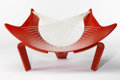 Furniture : Continental, PETER KARPF FOR CHRISTENSEN & LARSEN. A Red Lacquered Plywoodand White String Lounge Chair, circa 1968. 25-1/2 x 49-1/4 x 2...