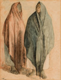 Fine Art - Painting, American:Contemporary   (1950 to present)  , FRANCISCO ZUÑIGA (Mexican, 1912-1998). Dos Mujeres, 1968.Mixed media on paper. 24-3/4 x 19 inches (62.9 x 48.3 cm) wind...