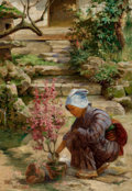 Fine Art - Painting, American:Modern  (1900 1949)  , J. CHARLES ARTER (American, 1860-1923). In the Garden, circa1890. Oil on canvas. 26 x 16 inches (66.0 x 40.6 cm). Signe...