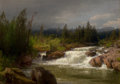Fine Art - Painting, American:Modern  (1900 1949)  , HERMANN OTTOMAR HERZOG (American, 1832-1932). Waterfall inNorway. Oil on canvas. 17-1/4 x 24-1/4 inches (43.8 x 61.6cm...