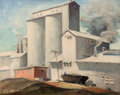 Fine Art - Painting, American:Modern  (1900 1949)  , JOHN FREDERICK SWALLEY (American, 1887-1976). IndustrialScene. Oil on board. 16 x 20-1/4 inches (40.6 x 51.4 cm).Signe...