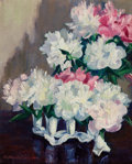 Fine Art - Painting, American:Contemporary   (1950 to present), DOROTHY CHURCHILL WYMAN (American, 1899-1993). Venus Peonies andRose Peonies. Oil on canvas. 20 x 16 inches (50.8 x 40....